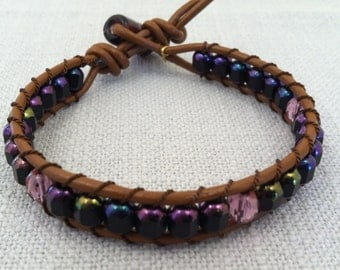 Purple Bead Ladder Bracelet // N-121