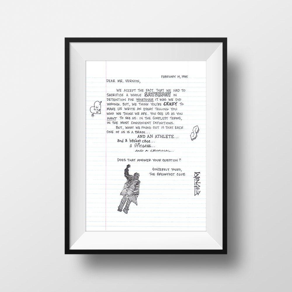 essay from the breakfast club best images about the breakfast club  the essay the breakfast club movie quote print film gift the essay the breakfast club movie