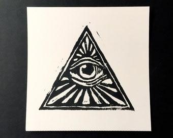 Illuminati Triangle Linocut Block Print 6x6