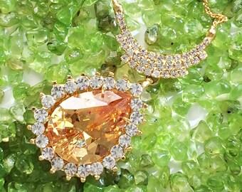 New Fashion Swarovski Crystal Gemstone Jewelry Pendant 14k Gold Plated Chain Teardrop Necklace