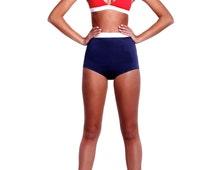Red and Blue retro highwaisted bikini set