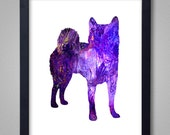 Shiba Inu Art Print - Proceeds to Shelters - Dog Wall Art - Abstract Digital Animal Painting