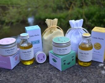New Mum & New Baby organic skincare pamper hamper. Bath Soak. Breast Balm, Tummy Rub Oil, Bump Butter, Baby Oil,  Best Nappy Rash Salve.