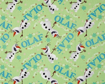 One Yard of Green Disney Frozen Olaf 100% Cotton Quilt Fabric by Springs Creative