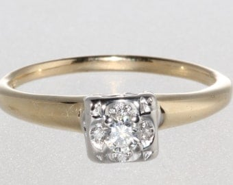 14k Yellow and White Gold Vintage Engagement Ring 1940's
