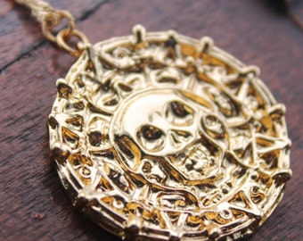 The pirates gold coin necklace Pirates of the Caribbean jewelry gift childrens jewelry, childrens gift, Christmas jewelry C141N-g