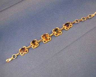 Amethyst and Quartz set in Sterling Bracelet