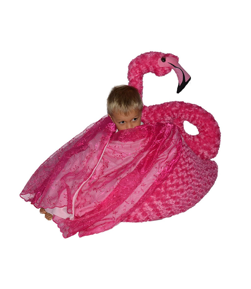 Flamingo Bean Bag Chair With Blanket Wings With Leg Stand Or