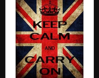 Keep Calm and Carry On - England - Flag - Art Print - Keep Calm Art Prints - Posters