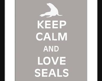 Keep Calm and Love Seals - Seals - Art Print - Keep Calm Art Prints - Posters