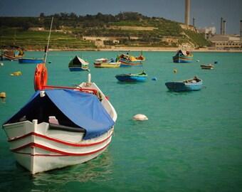 Fine Art Photography- Maltese Boats Photograph print 7x5 or 8x10
