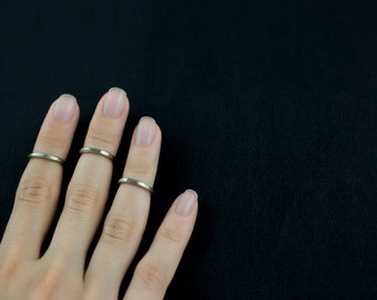 TRIPLE KNUCKLE ring set , triple midi ring set , band minimal rings  *** International Free shipping ***