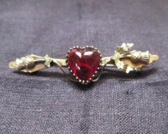 9K Gold Garnet Heart & Thistle Pin