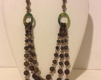 Green and brown beaded chunky layered agate necklace