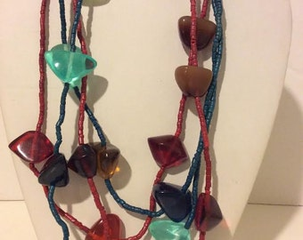 Gorgeous resin beaded multi color multi strand necklace