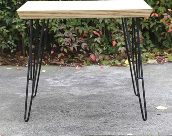Plywood coffee table, steel hairpin legs, living room furniture, home office, mid century design coffee table