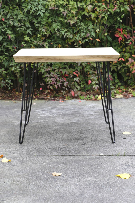 Plywood coffee table steel hairpin legs living room for Plywood table hairpin legs