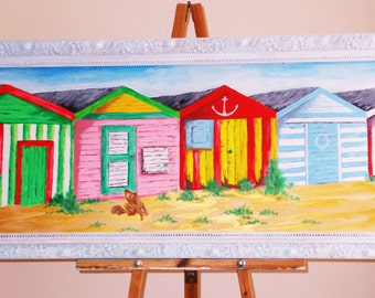 Huge framed original oil painting of run down beach huts with scruffy dog