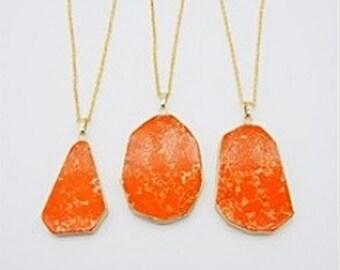 Jasper Necklace Orange Stone Necklace Slice Pendant Gold Dipped Jewelry Boho Stone Pendant Colorful Necklace Gold Edged