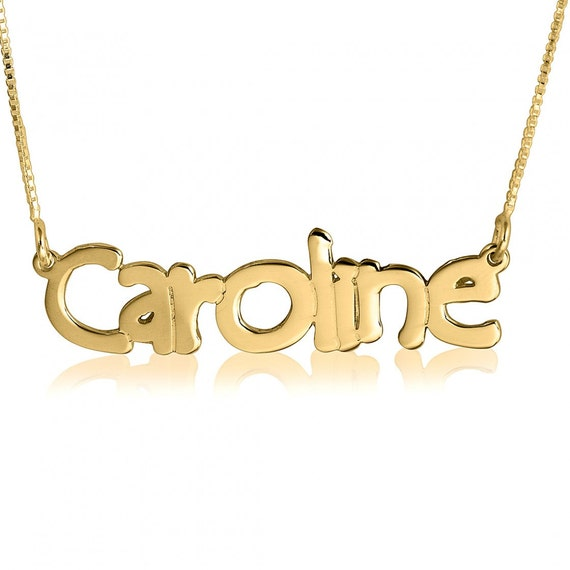 solid gold name necklace real gold name necklace name gold