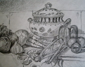 Kitchen Still Life Drawing, original, fine art, realism, home decor, cottage chic, pencil art, french country decor, wall hanging, framed