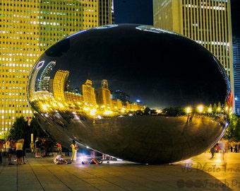 "Chicago Cloud Gate aka the ""Bean"" at Night. Chicago, Bean, Cloud Gate, night, Millennium Park, night image."