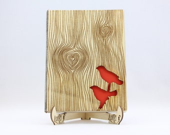 Birds Wedding Guest Book, Wood Love Birds Guestbook, Rustic Guestbook, Laser Engraved Guestbook, Wedding Birds Guestbook, Guest Book Birds