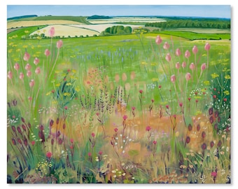 Giclee Print of Original Oil Landscape Painting English Countryside Wildflower Meadows on a North Norfolk Farm by Catherine Winget 37