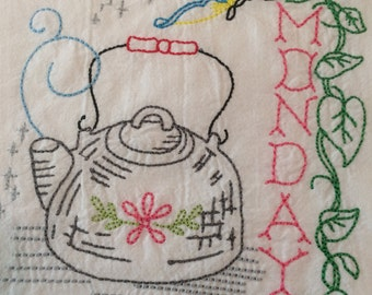 Antique Days of the Week Heirloom Collection.  7 different Tea Towels to choose from. RoxiesThreads