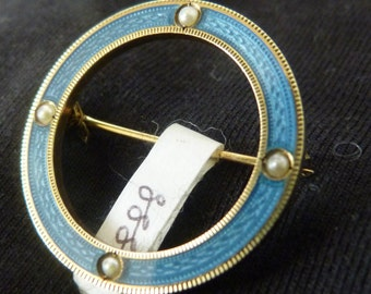 Antique 15ct gold and blue enamel brooch