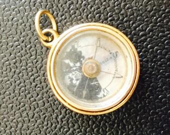 Antique 9ct gold engraved compass pendant / charm