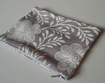 Grey and White Flower Make-up Bag /Pencil case