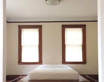 Walnut Platform Bed with Hidden Storage