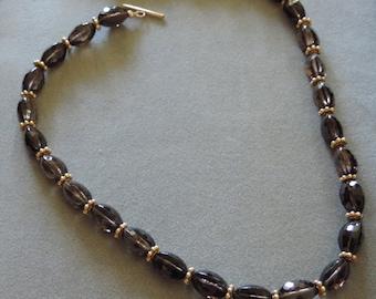 Faceted barrel-tube smoky quartz Necklace