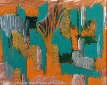 """Small abstract painting Acrylic orange & teal Small wall art Original contemporary painting """"Imaginary Vacation"""" 9x12"""" on paper, matted"""
