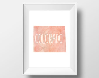 Colorado State Pink Watercolor Printable Art, Colorado Print, Colorado Art, Modern Art,