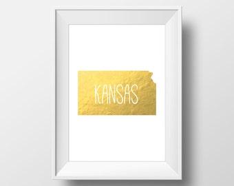 Kansas State Gold Foil Printable Art, Kansas State Print, Kansas Art, Modern Art,