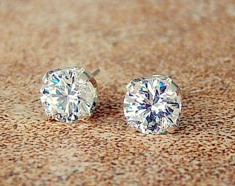925 Sterling Silver Cubic Zirconia Stud Earrings in Sterling Silver 5mm, 8mm and 10mm