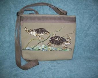 Hand painted turtle little shoulder bag