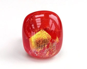 Dichroic Fused Glass Adjustable Ring  - Tectonik Collection - Red, yellow gold, silver (R46)