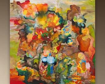 "Fire 24x24""  / 60x60cm - acrylic on canvas,  Original abstract acrylic painting, Modern Art Abstract"