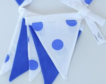 Fabric Flag Banner / Pennant / Bunting / Polka Dot / White / Blue