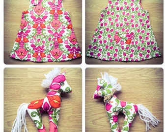 Handmade Reversable Pink Bells girl's dress (5-6) - (8-9) years with Horse