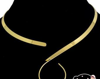 Shiny Gold S Loop Swirl Design Choker Collar Necklace Wire (CS4)