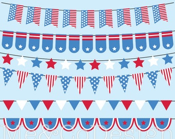 Independence Day Bunting Clipart, Stars and Stripes, Patriotic Instant Download, Personal and Commercial Use Clipart, Digital Clip Art
