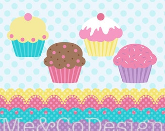 Cupcakes Clipart, Cupcake and Borders Clipart, Fun Baking Kitchen Instant Download, Personal and Commercial Use Clipart, Digital Clip Art