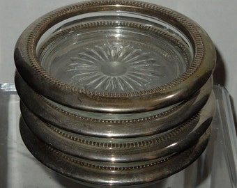 Set of 4 Vintage Silverplate and Glass Coasters
