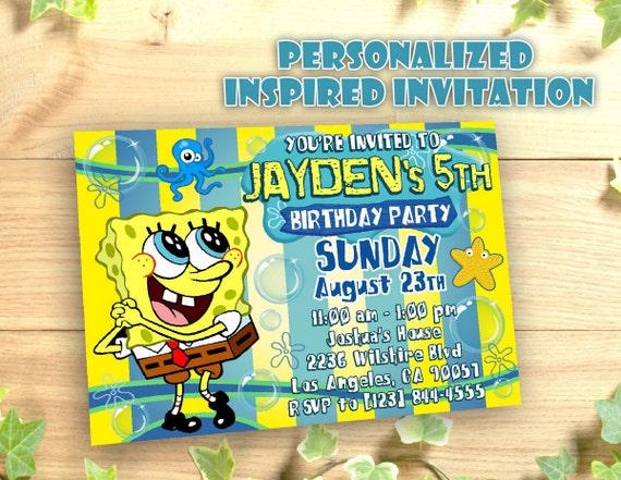SpongeBob Invitation Personalized Printable Birthday by ...