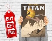 Rule and rock on Titan, space poster moon print retro advertising vintage poster boys room decor wall art - Rock Climbing On Titan (1539)