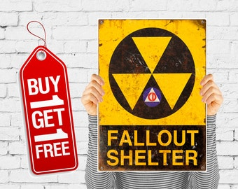 Fallout shelter print vintage poster retro fallout sign, fallout poster danger worming sign poster vintage advertising - Fallout 1 (1225)
